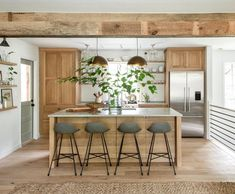 """Lauren Liess on Instagram: """"A whole lotta opening up + white oak + mixed metals in this kitchen redo. (Swipe to see 'before') We did a pair of handmade brass bistro…"""" Kitchen Redo, Rustic Kitchen, Kitchen Design, Kitchen Ideas, Custom Home Builders, Custom Homes, Lauren Liess, Hill Interiors, Bathroom Trends"""