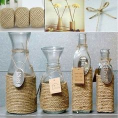 Find great deals for Jute Twine Natural Sisal Rope Rustic Tag Wrap Wedding Decor Craft Rope. Diy Bottle, Wine Bottle Crafts, Mason Jar Crafts, Twine Wine Bottles, Wine Corks, Diy Home Crafts, Decor Crafts, Crafts To Make, Nature Crafts