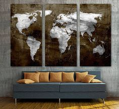 Retro world map canvas print art drawing on old wall watercolor brown silver world map canvas print wall art 3 panel split triptych home wall decor interior design decoration housewarming gift idea gumiabroncs Image collections