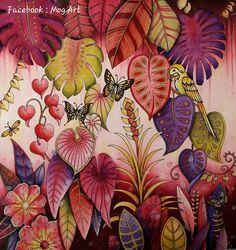 "380 Likes, 40 Comments - Audrey Mog (@audreymog) on Instagram: ""#coloriage #johannabasford #magicaljungle #secretforestocean #watercolor #neocolor #prismacolor…"""