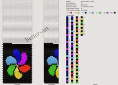 Nowy wzór na sznur szydełkowo-koralikowy jest na 26 koralików w rzędzie. Płateczki w kolorze tęczy:)