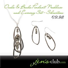 """Ovals & Beads Pendant Necklace and Earring Set - Silvertone From Regal.  A trio of sleek teardrops cascade from a delicate flat curb chain. Accented with faceted glass beads, and paired with coordinating fish hook style earrings. (Earrings are 1-3/4""""L. Necklace features a 28"""" chain plus 3"""" extender with lobster clasp closure) Product Number - JC1045"""
