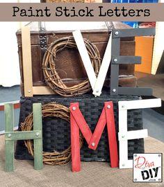 Super Simple DIY Sunday: Paint Stick Letters PLUS a #DIY Linky