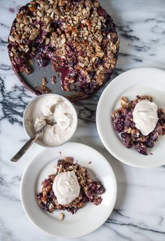 Mixed Berry Streusel Pie with Coconut Ginger Whipped Cream - sub with GF all-purpose flour and almond meal to make Healthy Vegan Desserts, Vegan Dessert Recipes, Tart Recipes, Vegan Sweets, Healthy Treats, Fun Desserts, Vegan Food, Healthy Food, Mixed Berry Pie