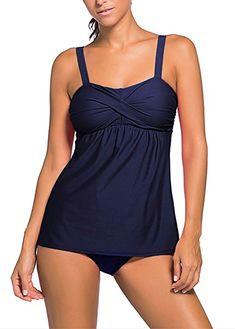 4410ae6d88d576 Colfeel Damen Bikini Set Badeanzug Zweiteilig Tankini Schwimmanzug Bauchweg  Bademode Strandmode Bikini Oberteile + Höschen,