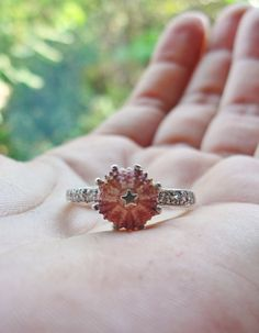 Sterling Silver Pink Sea Urchin Ring with Cubic Zircon Engagement Ring One of a Kind Size 8