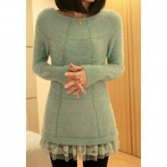 Ladylike Style Long Sleeves Scoop Neck Lace Hem Embellished Solid Color Sweater For Women