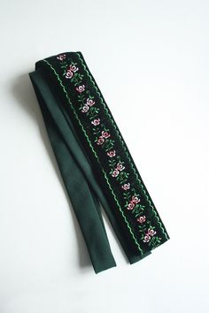 Vintage black velvet tie with embroidered floral detail by TurquoiseFlamingo on Etsy