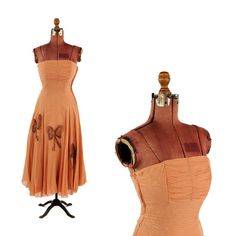 Vintage 1950's Sheer Nude Chiffon Strapless Soutache Bow Cocktail Party Prom Dress S
