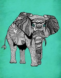 Poster Print 11x14  Tribal Turquoise Elephant  by PomGraphicDesign, $26.00