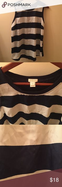 🎉$12🎉JCREW Blue and white striped tank Blue and white striped tank with jersey back. Size large petite. Does have small snag on front as shown in third picture but barely noticeable. J. Crew Tops Tank Tops