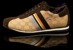 "Gucci Men ""Five Color Stripe - GG Monogram"" Sneakers - Brown"