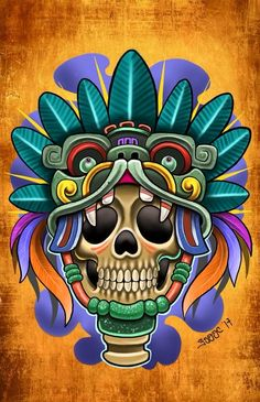 A total Collection of Beautiful Arts works, Paints, Art, Anime and Wallpapers. Tribal Art Tattoos, Mayan Tattoos, Mexican Art Tattoos, Indian Tattoos, Aztec Culture, Totenkopf Tattoos, Skull Artwork, Mexico Art, Aztec Art