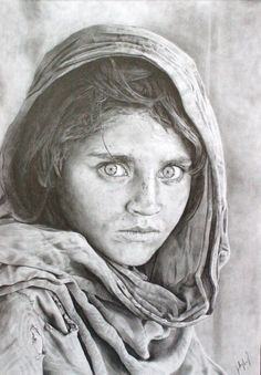 """Afghan Girl by ~loaded88 on deviantART I know I may be late on commenting, but this is beautiful and I feel that it really comes the closest in capturing the feeling behind the original photo. I've seen quite a few attempts on sketches of the """"Afghan Girl"""" (aka Sharbat Gula) and this is the only sketch that I feel comes the closest to capturing the conviction within her eyes, which is the factor that makes the photograph compelling and powerful."""