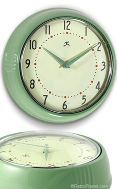 This Jadeite Green Replica Kitchen Wall Clock is a fun twist on the classic school clock, thanks to its vintage toned coloration and cool, retro-modern contoured design. With a quality metal housing and glass lens. (price: 32.99)