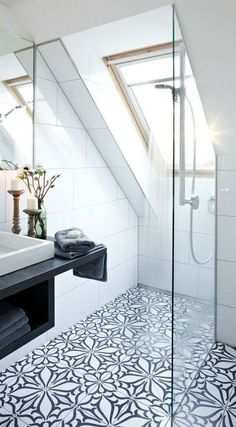 Love the size, skylight, and open shower. All it needs is a tub on another wall.