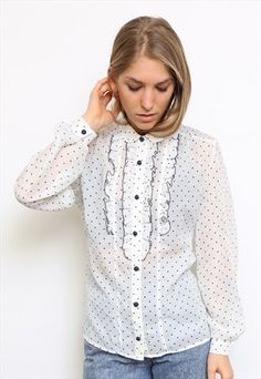 VINTAGE 80S WHITE POLKADOT RUFFLE SHIRT- VINTAGE INCLINED