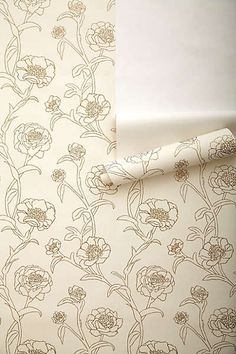Anthropologie - Inked Peonies Wallpaper- For the inside of her closet