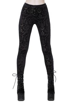Saiph Burnout Velvet Leggings [B] | KILLSTAR Forge your spiritual bond with the butterflies of the night; the moth will evoke the mysteries of the occult in you. The dreamlike 'Saiph' leggings are conjured of the softest lush velvet; with an intricate burnout paisley pattern and moths. Elastic waist and classic fit. A statement piece you cannot get enough of!Match with vests, tunics or yer fav knits - as your heart desire!