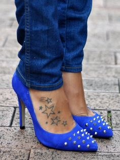 Awesome shoes funny too bc I have almost the exact same tattoo on that exact same foot except mine are colored in & there are 17 stars total
