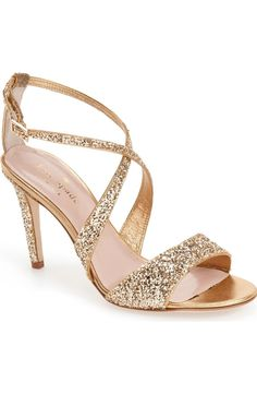 Head over heels for these gold, glittery sandals from Kate Spade. They'll take any look from plain to fabulous! Bride Shoes, Prom Shoes, Wedding Shoes, Wedding Hair, Gold Shoes, Shoes Heels, Sparkly Gold Heels, Heeled Sandals, Dress Shoes
