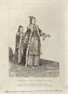 Maria Theresia and one of her daughter in Turkish Dress (1745); Jean-Etienne Liotard (1702-1789, Swiss-French) - Drawing
