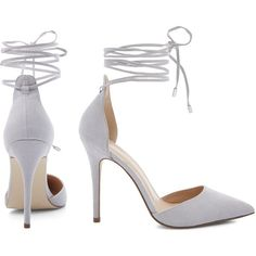 Grey Suedette Tie Ankle Strap Pointed Heels ❤ liked on Polyvore featuring shoes, pumps, heels, pointy-toe pumps, grey shoes, tie shoes, ankle wrap pumps and pointed heel pumps