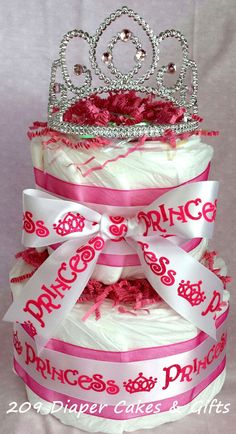 Pretty Pink Princess Diaper Cake for Baby Girl by 209 Diaper Cakes