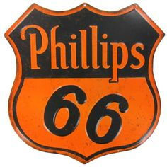 Phillips 66 Embossed Die Cut Tin Sign