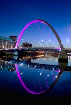 """Only in dear old Glasgow Toon would they build a """"Squinty Bridge"""" as Glaswegians have dubbed it because it crosses the River Clyde diagonally to link the north and south. The correct name of the bridge is the Clyde Arc.The first new road bridge over the Clyde in 30 years."""