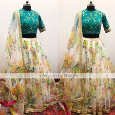 Floral lehenga in silk organza Blouse Designs High Neck, Half Saree Designs, Choli Designs, Lehenga Designs, Saree Blouse Designs, Floral Lehenga, Half Saree Lehenga, Lehenga Blouse, Organza Dress