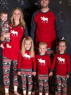 Matching Family Christmas Pajamas Red Pants With Top For Kids Unisex Reindeer Printed Morning Pajamas