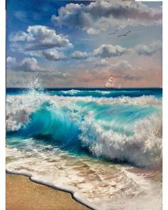 Master class on August 8 at . Мастер-класс 8 августа в - Master class on August 8 at . Seascape Paintings, Landscape Paintings, Soft Pastel Art, Water Art, Sea Art, Pictures To Paint, Ocean Waves, Watercolor Paintings, Easy Watercolor