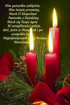 Kartka świąteczna 🎅🌲🎅🌲🎅🌲🎅🌲🎅🌲 Merry Christmas, Baumgarten, Pillar Candles, Inspiration, Sayings, Photography, Red Roses, Holiday Ornaments, Biblia