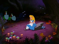 Screencap Gallery for Alice in Wonderland Bluray, Disney Classics). Disney version of Lewis Carroll's children's story. Alice becomes bored and her mind starts to wander. Old Disney, Disney Art, Disney Pixar, Alice Disney, Disney Wiki, Disney Princes, Disney Style, Disney Magic, Disney Songs