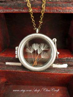 Wish Necklace Real Dandelion Necklace Dandelion Jewelry Botanical Necklace Glass Terrarium Jewelry Round Locket Pendant Gifts for Teachers