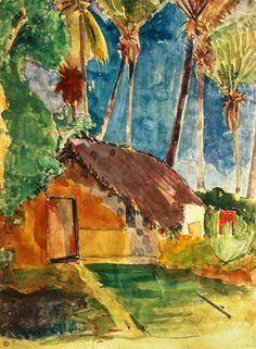 Paul Gauguin - Strohhütte unter Palmen (Illustration aus Noa Noa)