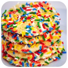 Cool Whip Cookies with Sprinkles  only 4 ingredients!  (I wonder if these are like the sprinkle cookies from old school bakeries I used to get as a kid?)