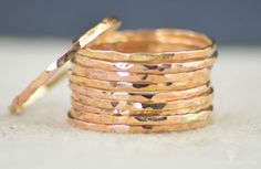 Super Thin 14k Rose Gold Filled Stacking Ring: These Rings are Minimal & Simple - Dainty Hammered Gold Bands. Rustic, Understated Luxury. - Delicate hammered gold ring. - I generally recommend these r