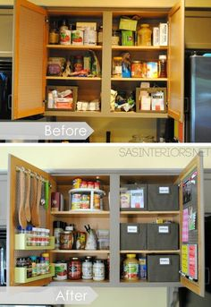 Small Kitchen Organizing Ideas Tips, Ideas Tutorials! Including how to do a whole kitchen cupboard organization makeover from 'sas interiors'. Smart Kitchen, Kitchen Pantry, Diy Kitchen, Kitchen Ideas, Kitchen Small, Organize Kitchen Cupboards, Pantry Ideas, Kitchen Tips, Organized Kitchen