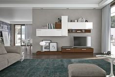 furniture, Tv Cabinet Design Ideas For Living Room Design Ideas With Wall Units Design And Bookshelves Design With Green Rug And Grey Sofa For Living Room Interior Design Ideas With Glass Door And White Curtain Ideas: Choosing TV Cabinet Design For Your Rooms
