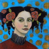 Original Portrait of Woman Painting On 20x20 Canvas by Jane Spakowsky