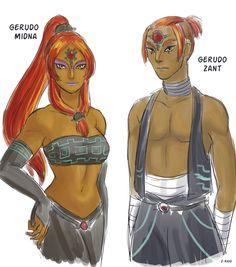 scribbly-z-raid:  Gerudo version of Midna and Zant!