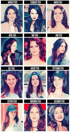 Lana Del Rey evolution month by month of 2013