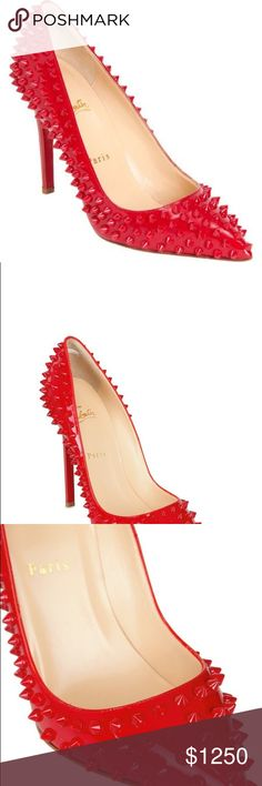ededbfd93cc7 pigalle spiked christian louboutin pointy pumps NWOT christian louboutin  spikes pointy red pump 100mm Never worn