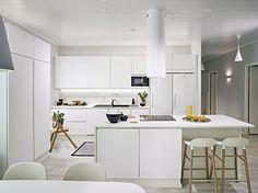 Kitchen.Kohde 27. Trio, Design-Talo. Ovimalli Säde SD10M, sormiurallinen maalattu mdf.