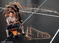 Peter Pan cast members Mohsen Nouri and Fiona Lait with the crocodile made from coat hangers