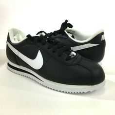 timeless design 4e1a1 52ebc Nike Cortez Basic Leather 06  Black White-Silver Men s Running Shoes 316418-