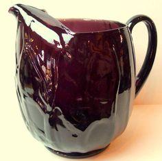 Mid century purple Glass Pitcher Vintage Artsy Glassware
