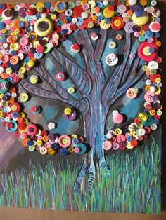 Button tree....tons of fun!  Painted the background then added the buttons.
